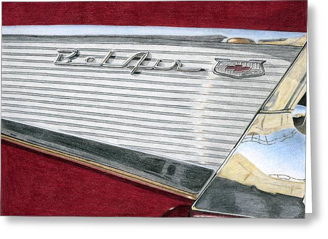 1957 Chevrolet Bel Air Convertible Greeting Card by Rob De Vries