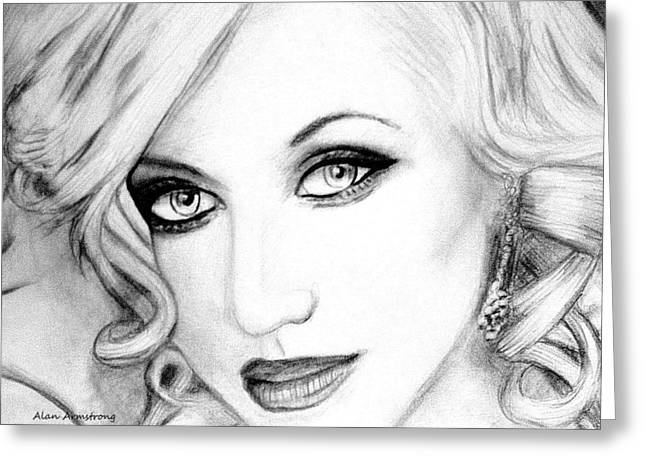 # 2 Christina Aguilera Portrait  Greeting Card by Alan Armstrong