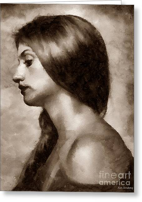 # 30 Penelope Cruz Portrait Greeting Card by Alan Armstrong