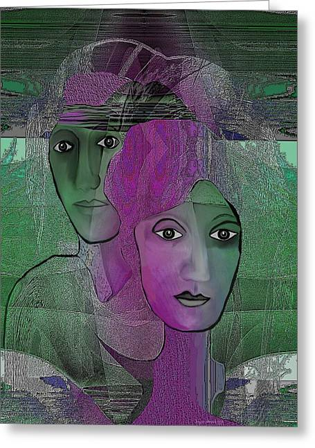 300 - Couple Purple - Green Greeting Card by Irmgard Schoendorf Welch