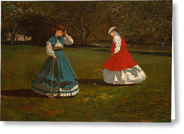 A Game Of Croquet Greeting Card by Mountain Dreams