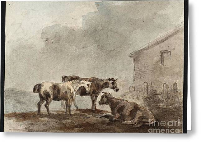 A Horse And Two Cows Near A Farm Building Greeting Card by MotionAge Designs