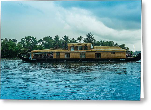 A House Boat Around The Backwaters In Alleppey, Kerala, India Greeting Card by Art Spectrum