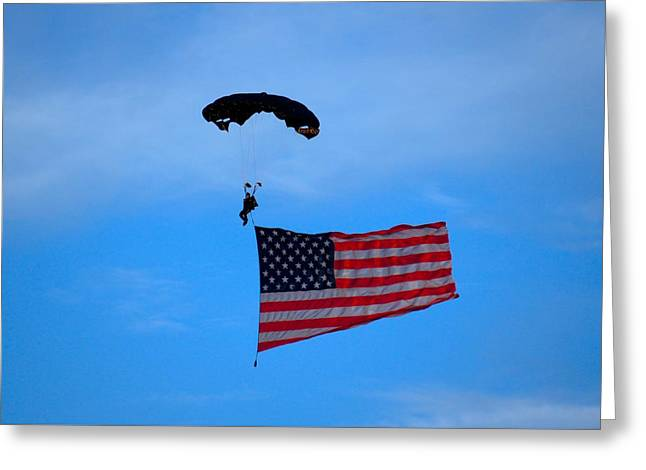 A Skydiver With An American Flag  Greeting Card