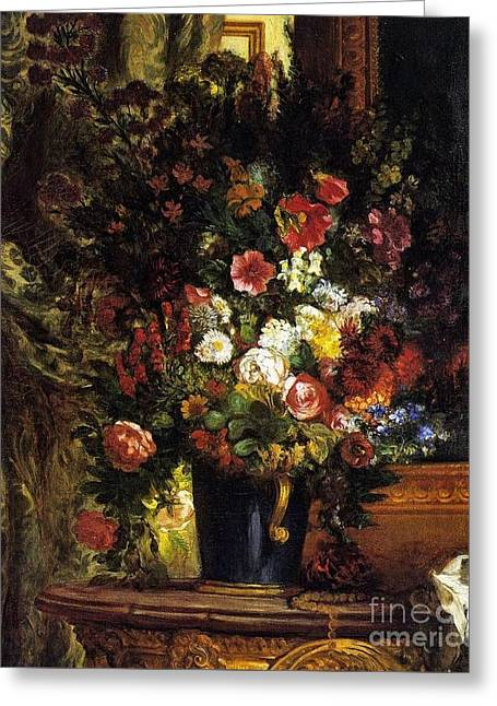 A Vase Of Flowers On A Console Greeting Card