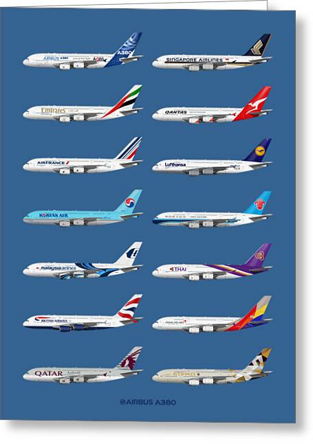 Airbus A380 Operators Illustration - Blue Version Greeting Card by Steve H Clark Photography
