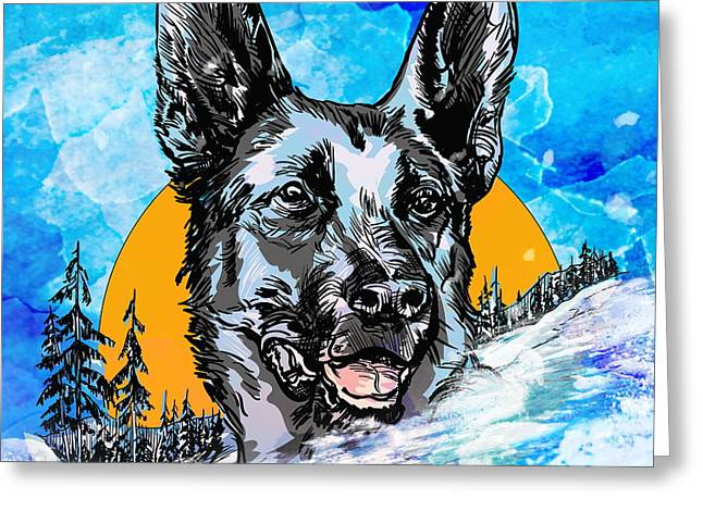 Greeting Card featuring the drawing  Alsatian by Andrzej Szczerski
