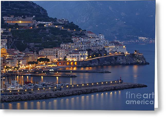Mediterranean Landscape Greeting Cards -  Amalfi at Night Greeting Card by George Oze