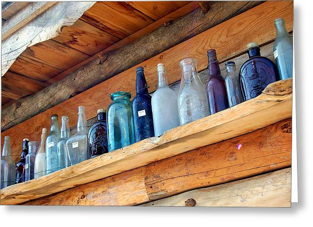 Antique Bottles Blues Greeting Card
