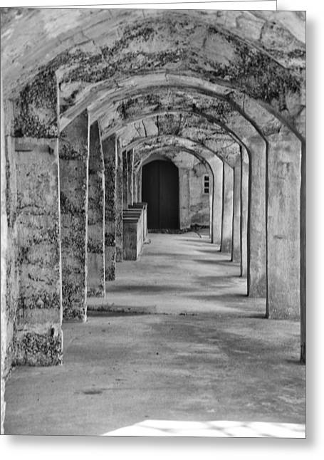 Archway At Moravian Pottery And Tile Works In Black And White Greeting Card by Bill Cannon
