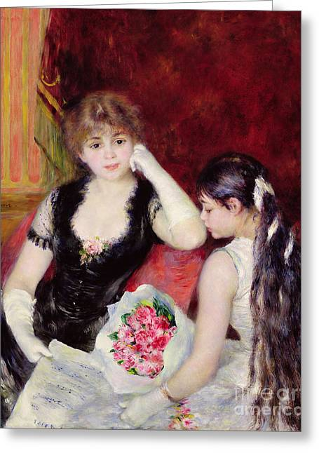 Ribbon Greeting Cards -  At the Concert Greeting Card by Pierre Auguste Renoir