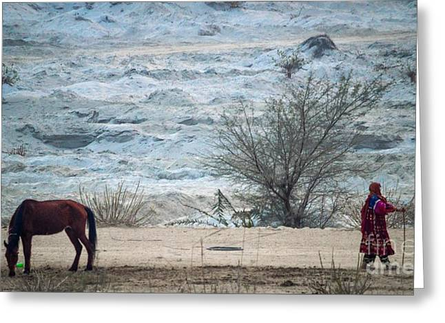 Balochi Shepherd In Pakistan Greeting Card by Akhtar H Khan