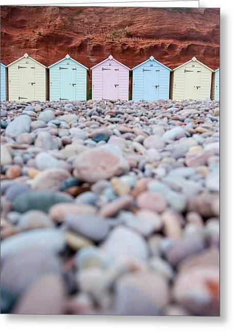 Beach Huts And Pebbles Greeting Card