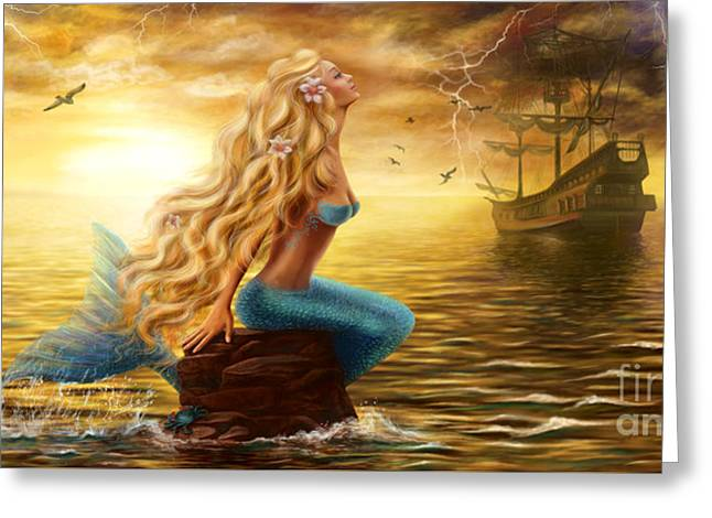 Beautiful Princess Sea Mermaid With Ghost Ship At Sunset Background Greeting Card