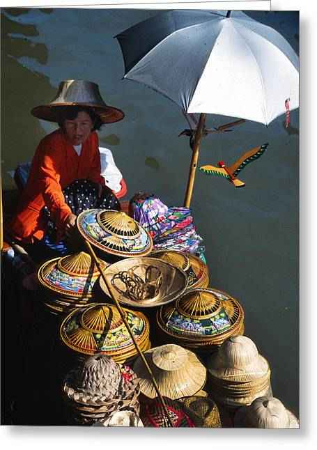 Boat Woman In Thailand Greeting Card by Carl Purcell