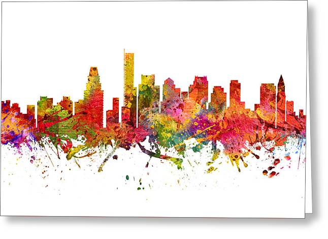 Boston Drawings Greeting Cards -  Boston Cityscape 08 Greeting Card by Aged Pixel