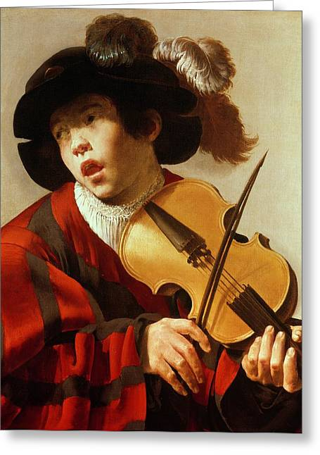 Plumed Greeting Cards -  Boy Playing Stringed Instrument and Singing Greeting Card by Hendrick Ter Brugghen