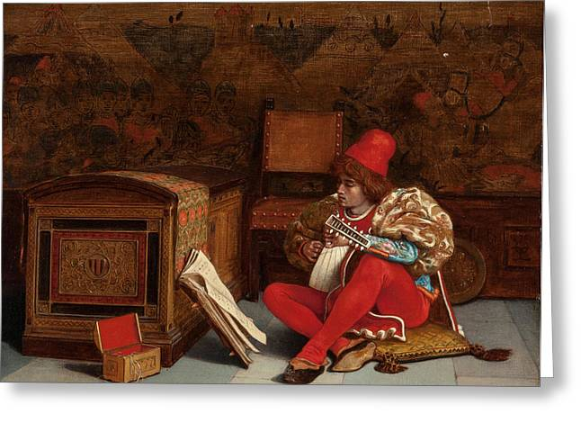 Boy With Lute Greeting Card