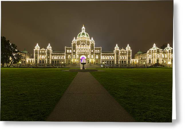 British Columbia Parliament Buildings At Night Greeting Card by Mark Kiver