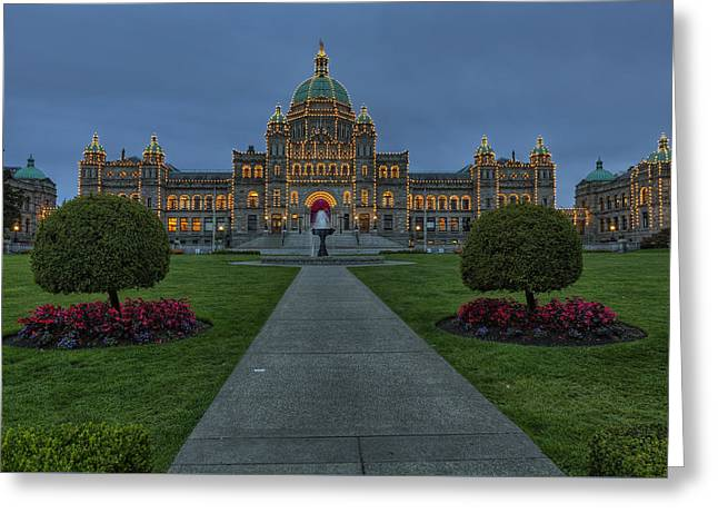 British Columbia Parliament Buildings Greeting Card by Mark Kiver