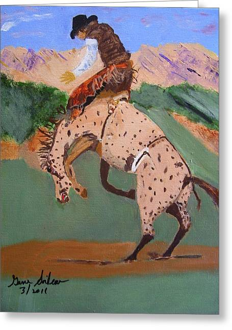Greeting Card featuring the painting  Bronco Rider On A Horse by Swabby Soileau