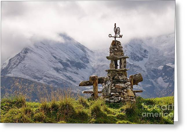 Cairn With Weather Cock With View On The Austrian Alps Greeting Card by Karin Stein