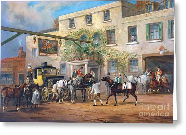 Changing Horses To A Post-chaise Outside The 'george' Posting-house Greeting Card by MotionAge Designs