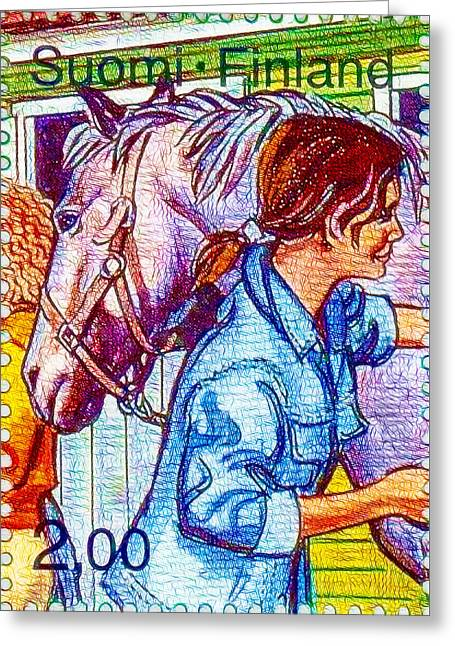 Children Taking Care Of Horses Greeting Card by Lanjee Chee