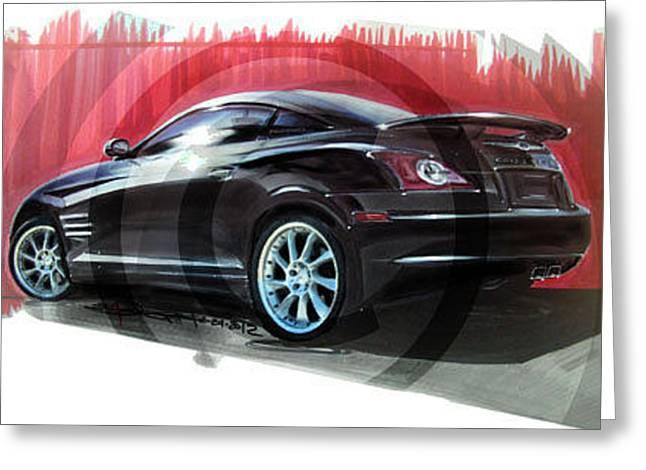 custom chrysler crossfire srt6. chrysler crossfire srt6 with custom wheels greeting card by elizabeth joseph s
