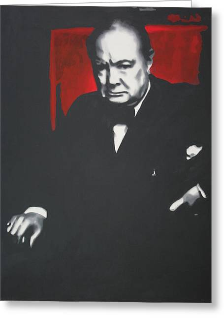 - Churchill - Greeting Card by Luis Ludzska