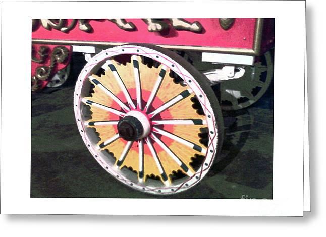 Circus Wagon Wheel Greeting Card by Karen Francis