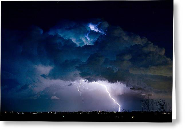 Clouds Of Light Lightning Striking Boulder County Colorado Greeting Card by James BO  Insogna