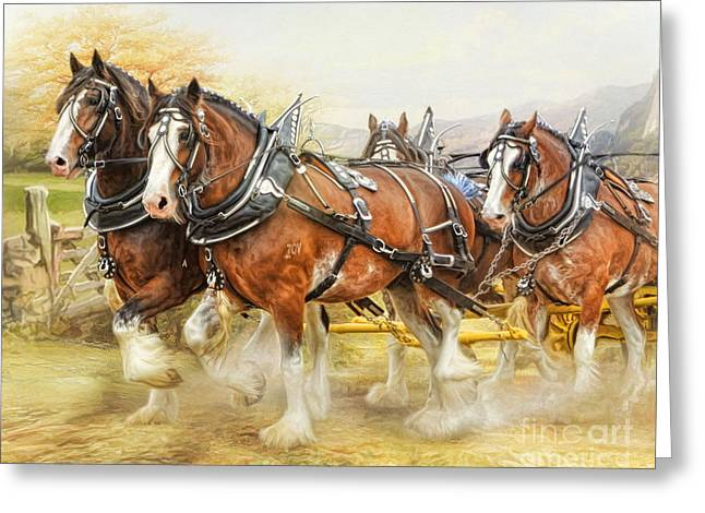 Greeting Card featuring the digital art  Clydesdales In Harness by Trudi Simmonds