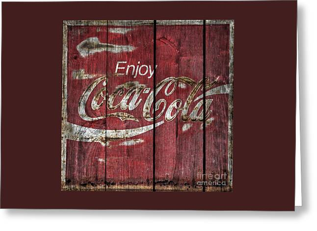 Coca Cola Sign Barn Wood Greeting Card by John Stephens