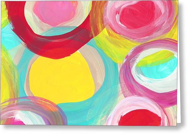 Colorful Sun Circles Square 2 Greeting Card by Amy Vangsgard