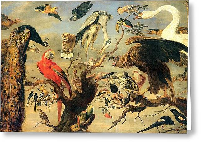 Concert Of Birds Greeting Card by Pg Reproductions