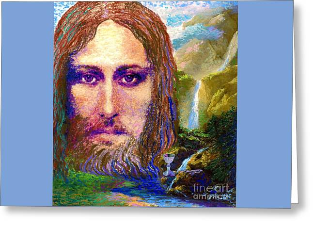 Greeting Card featuring the painting  Contemporary Jesus Painting, Chalice Of Life by Jane Small