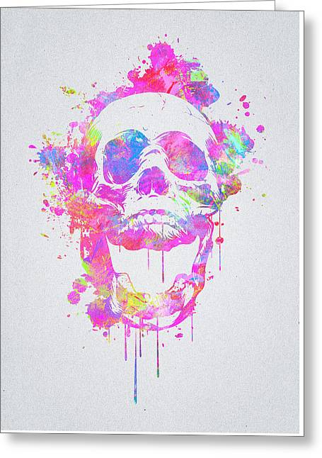 Cool And Trendy Pink Watercolor Skull Greeting Card by Philipp Rietz