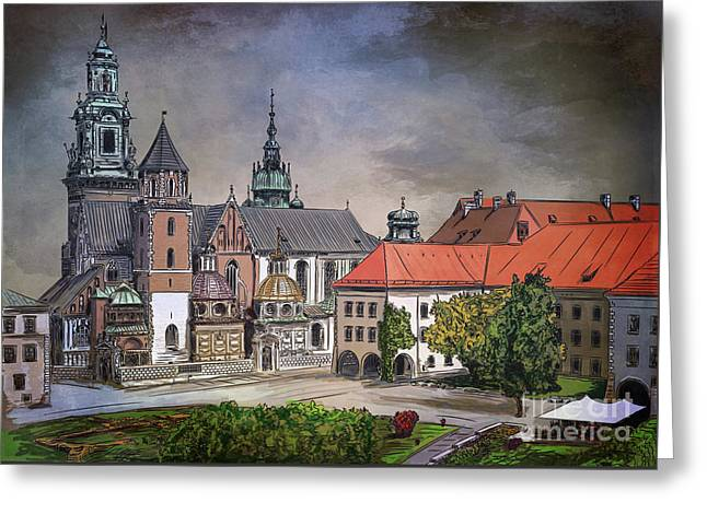 Greeting Card featuring the painting  Cracow.world Youth Day In 2016. by Andrzej Szczerski