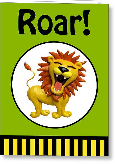 Cute Lion Roaring Greeting Card