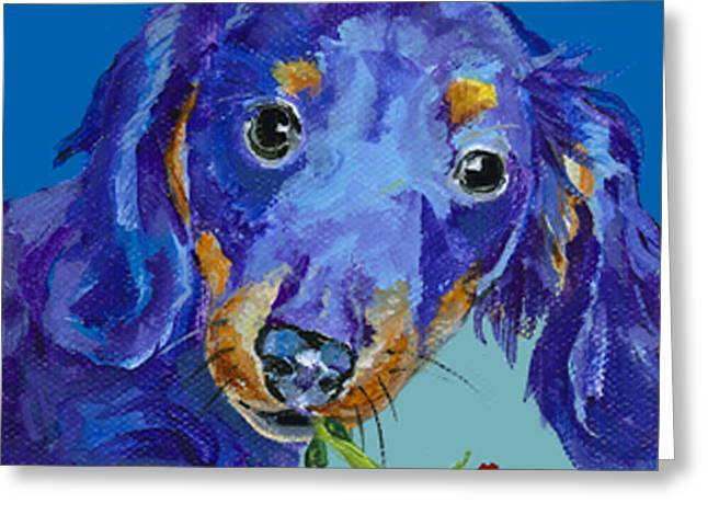 Mini Paintings Greeting Cards -   Dach Greeting Card by Pat Saunders-White