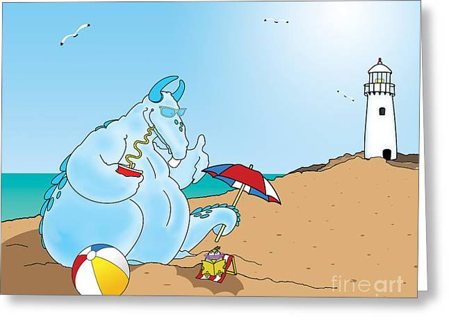 Dino And Phil At The Beach Greeting Card by Kids Lolll