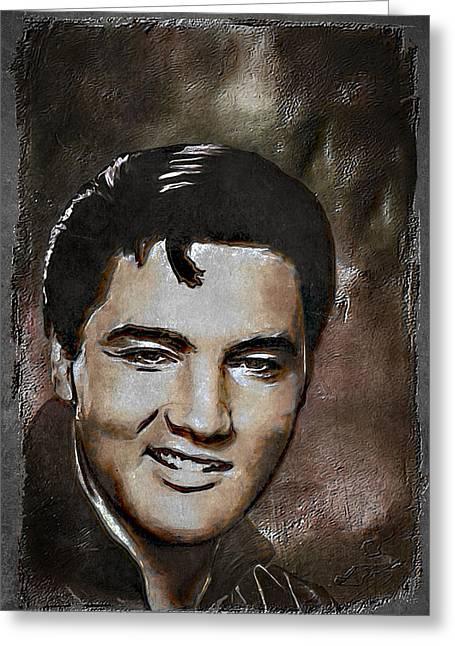 Elvis Greeting Card by Andrzej Szczerski
