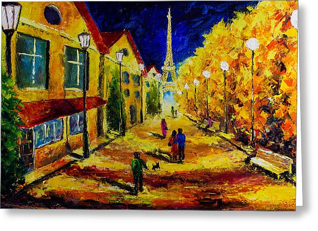 Evening Walk Through The Old Streets Of Paris - - Palette Knife Oil Painting On Canvas By Rybakow Greeting Card