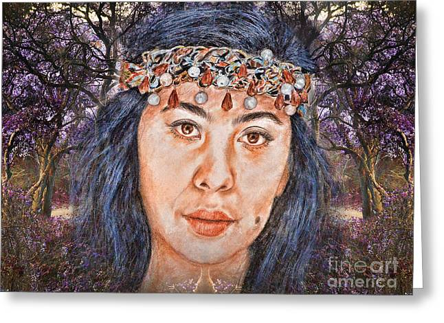 Filipina Beauty, Kaye Anne Toribio.in A Mystical Forest II Greeting Card by Jim Fitzpatrick