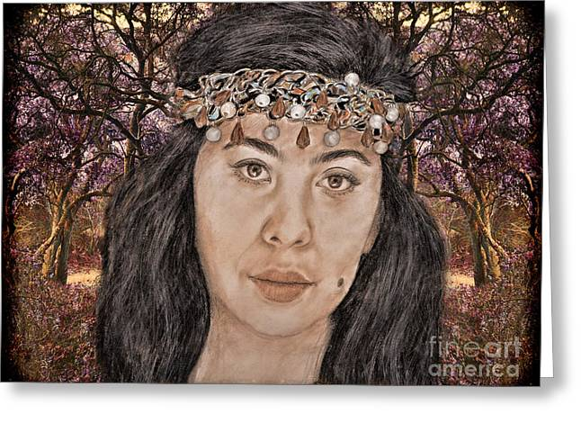 Filipina Model Kaye Anne Toribio In A Mystical Forest. Greeting Card by Jim Fitzpatrick