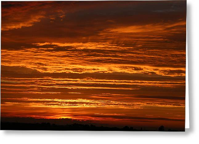 Firery Sky Greeting Card by Dave Clark