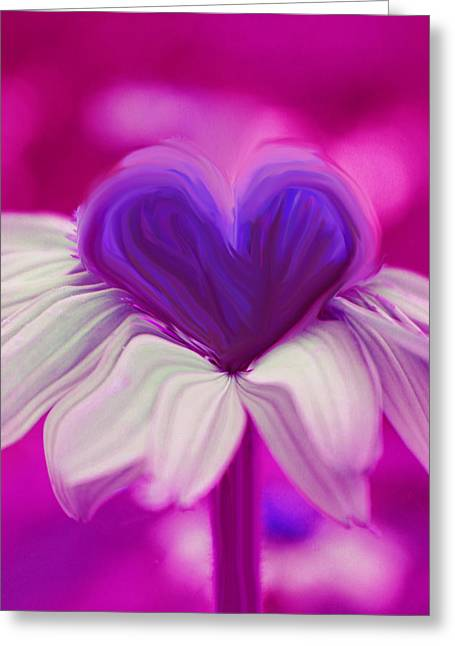Greeting Card featuring the photograph  Flower Heart by Linda Sannuti