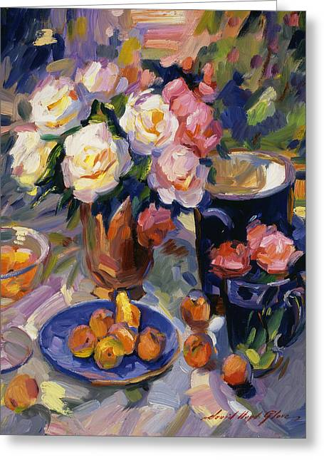 Flowers And Fruit Greeting Card by David Lloyd Glover