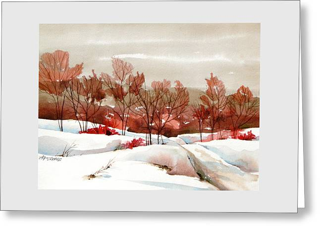 Frosted Red Greeting Card by Art Scholz